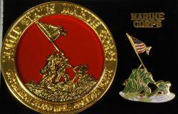 Commemorative Iwo Jima Medallion and Hat Pin Set
