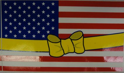 Bumper Sticker- USA Flag With Yellow Ribbon