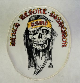 Patch- Large Embroidered Death Before Dishonor USMC Skull