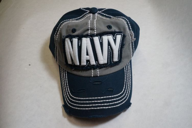 Cap- NEW Distressed Navy With White 3D letters
