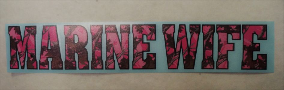 Decal- NEW Marine Wife Pink Camo