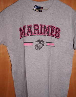 T-Shirt- Womens-Proud Marine Mom grey/pink