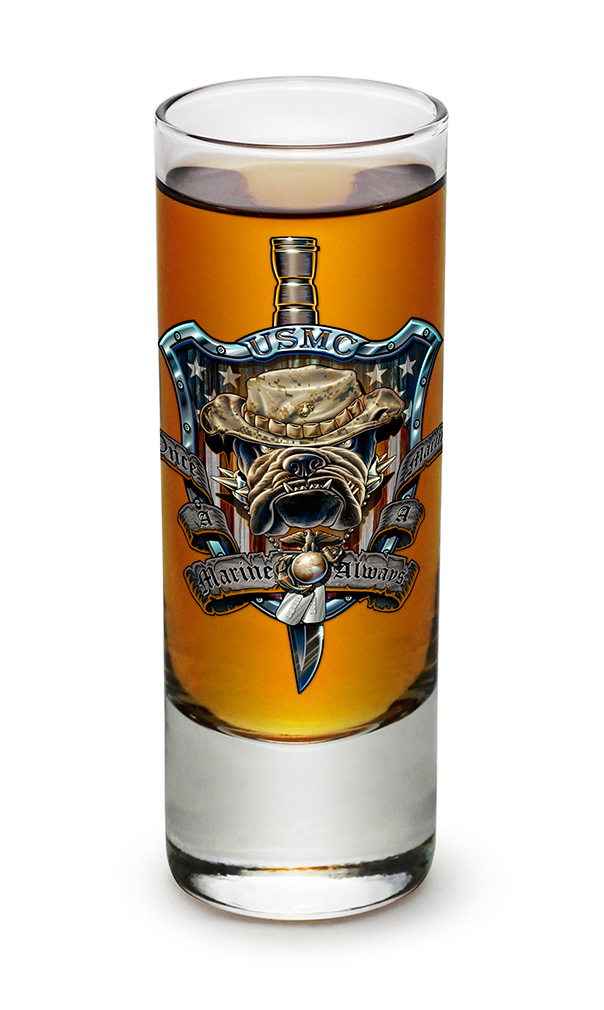 SHOT GLASS-Once a Marine Always a Marine 2.5oz