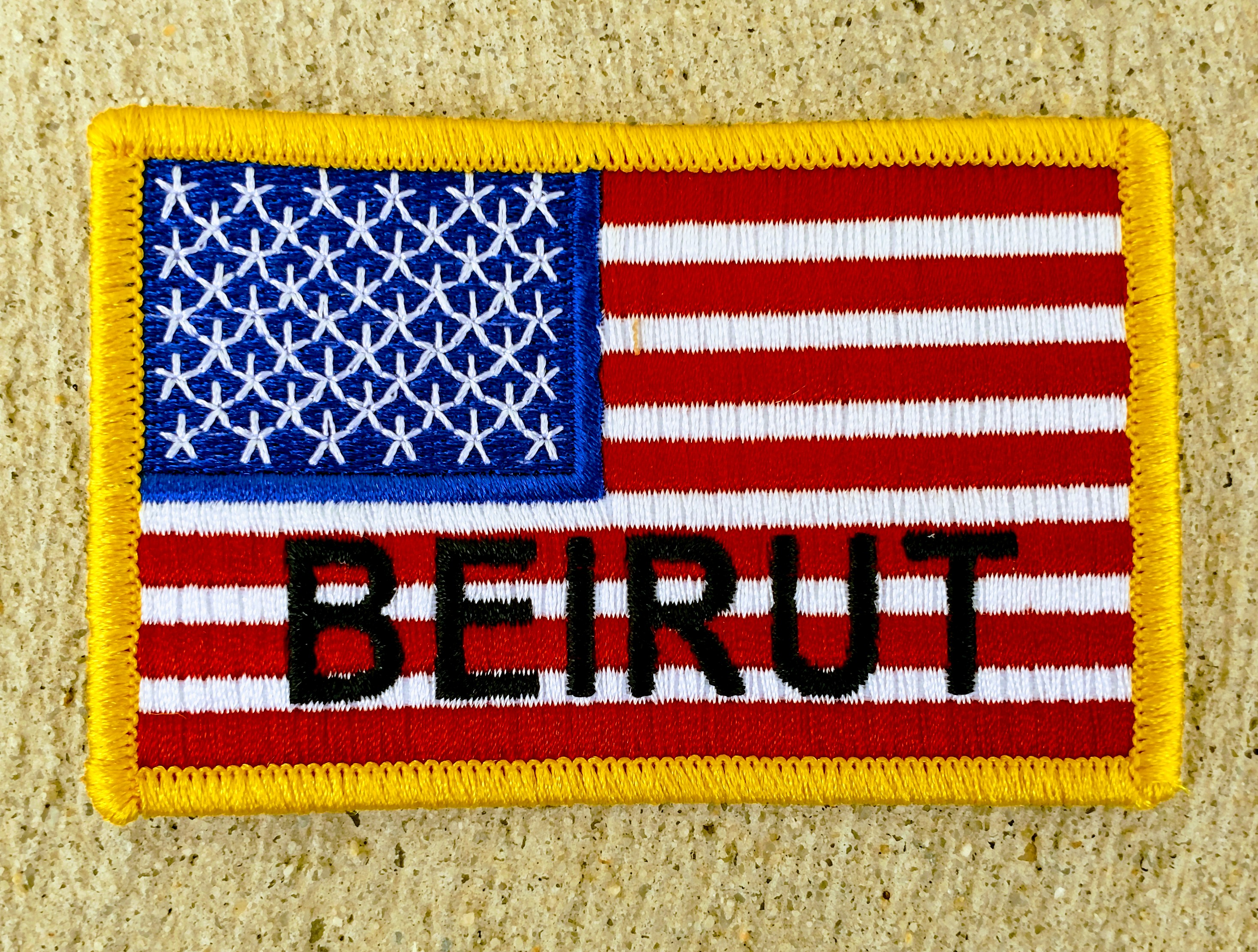 NEW American Flag with Beirut patch