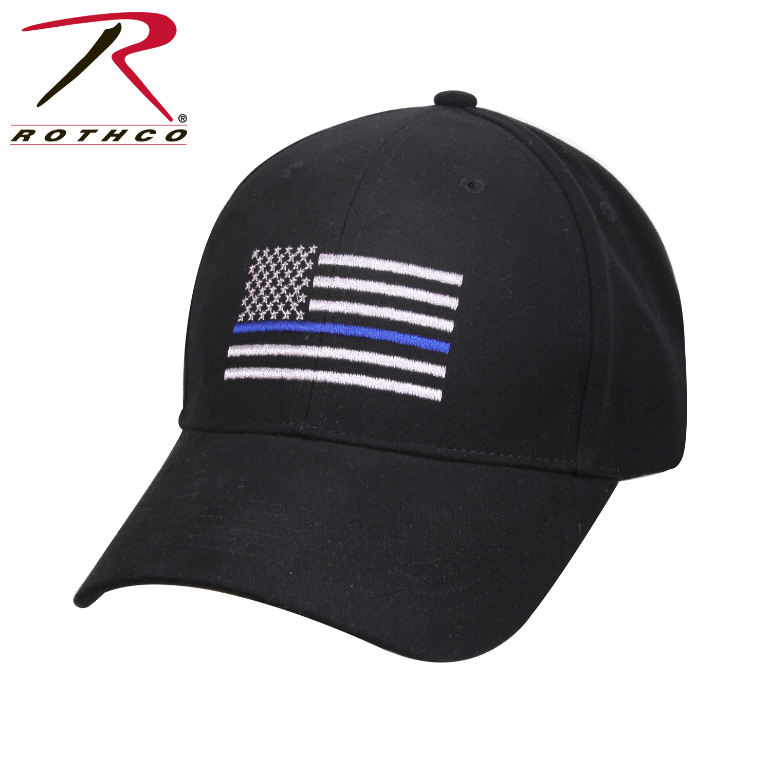 Cap-Black with Thin Blue Line Flag