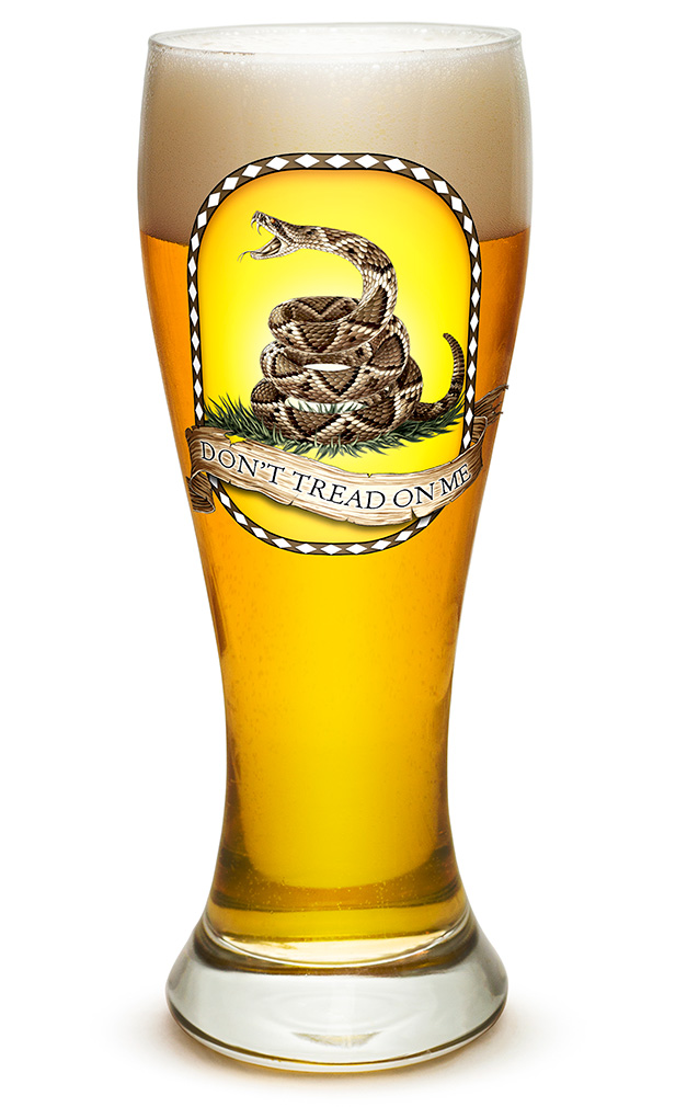 PILSNER GLASS-Don't Tread On Me 23oz