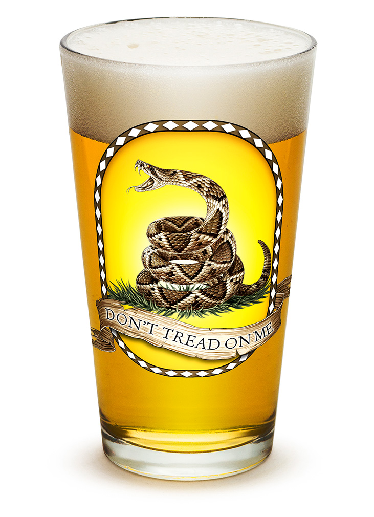 PINT GLASS-Don't Tread On Me 16oz