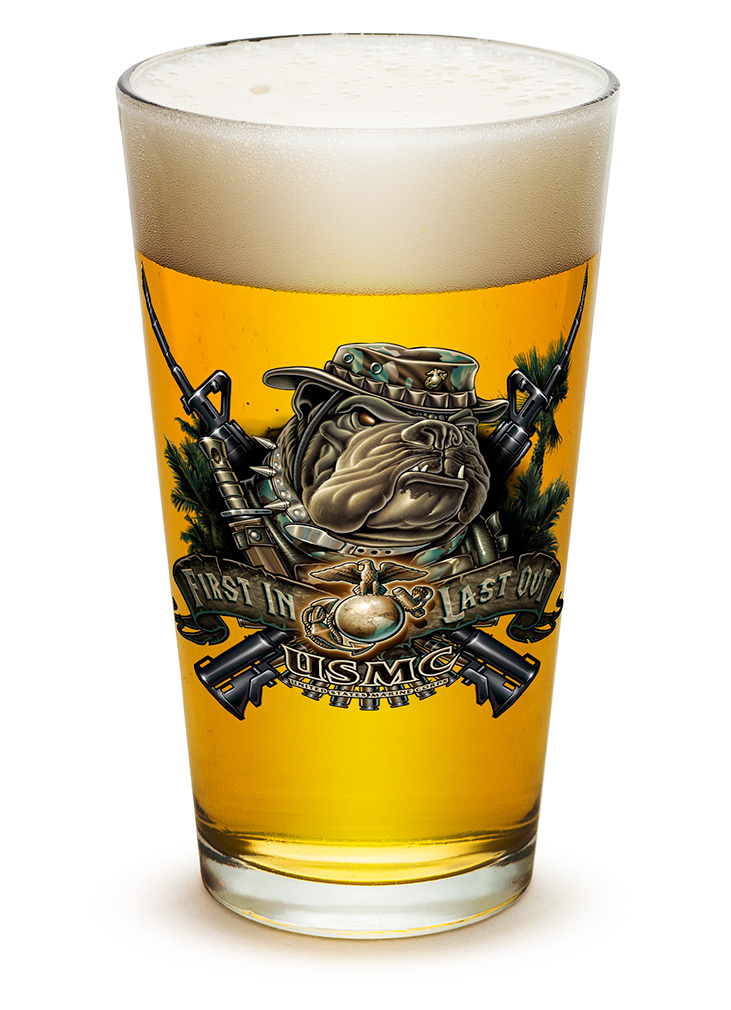 PINT GLASS-Devil Dog First in Last Out 16oz
