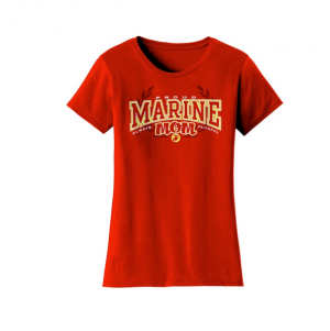 T-Shirt- Womens-Proud Marine Mom-Red