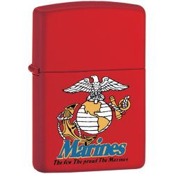Zippo- Red Matte Marines with EGA