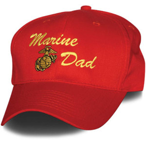 Cap-Marine Dad Red With Gold Embroidery US MADE
