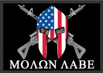Molon Labe With Rifles  3'x5' Flag