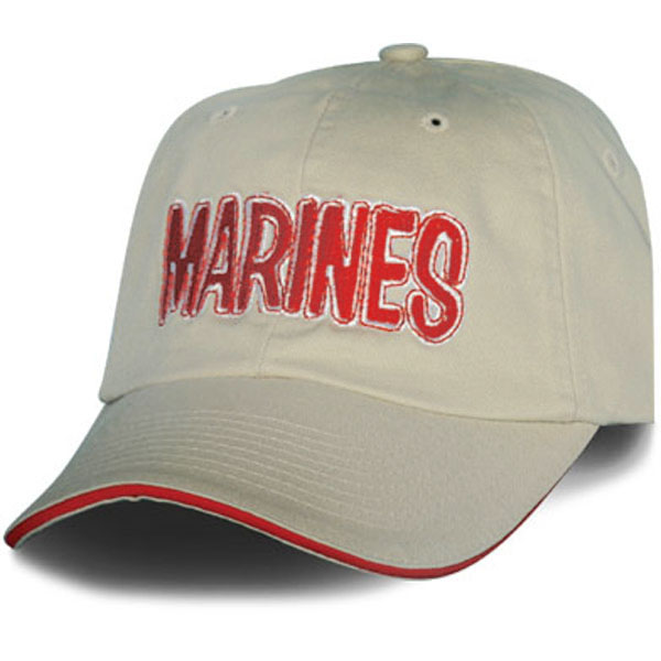 Cap-Cream with Red Embroidered Marines