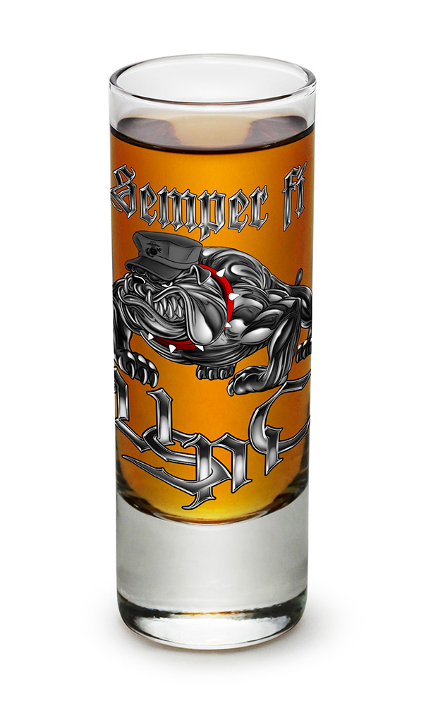 SHOT GLASS-Semper Fi USMC 2oz