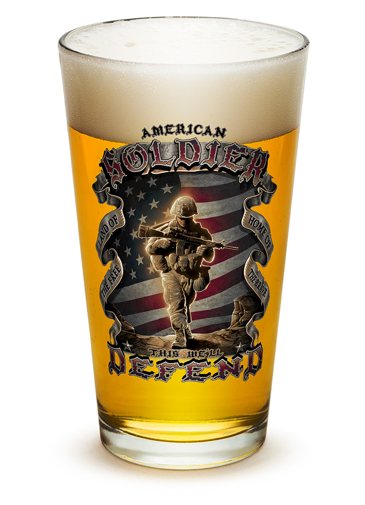 PINT GLASS-American Soldier 16oz