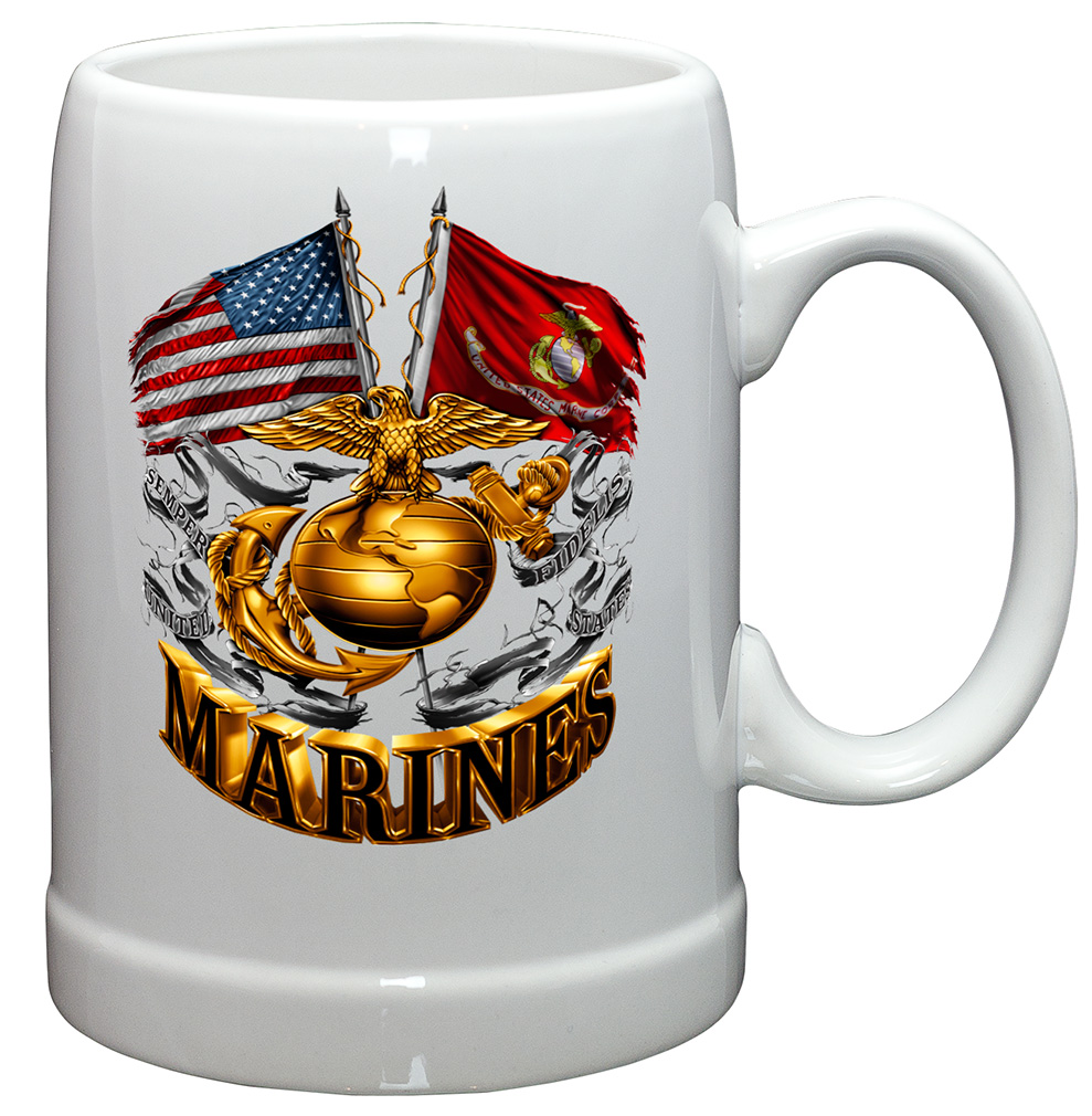 Coffee Cup-Marine Corps Cross Flags Stoneware 20oz