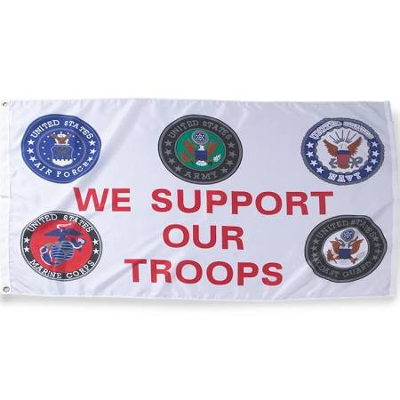 We Support Our Troops All Services 3'x5' Flag