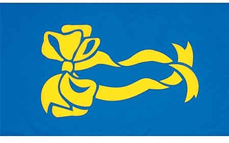 Yellow Ribbon Flag With Blue Background 3'x5'